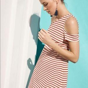 Maeve Anthropologie Red Stripe One Shoulder Dress